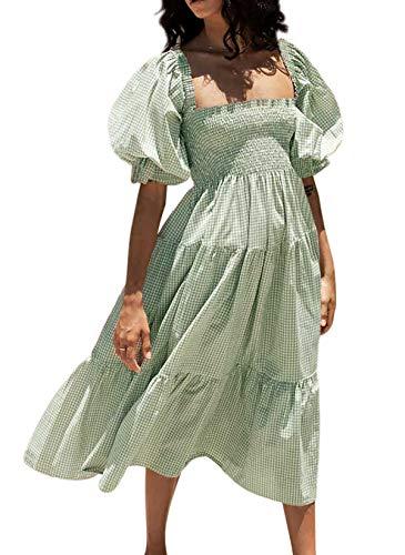 R.Vivimos Women's Summer Cotton Plaid Puff Sleeves Bow Casual Off-Shoulder Boho Midi Dress (Large,Green)