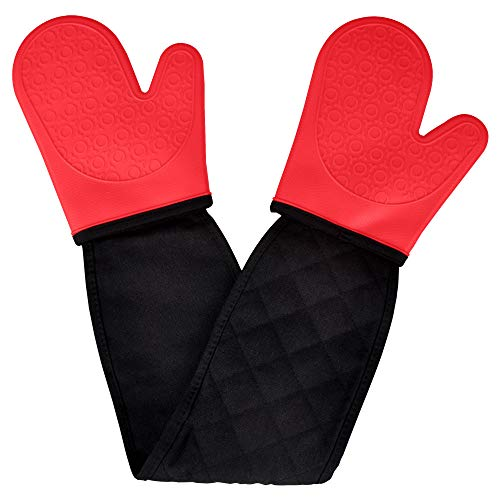 Double Oven Gloves Mitts Silicone,Oven Gloves Heat Resistant Baking Gloves Oven Mitts Pair Waterproof Non Slip Thick Long Silocone Oven Mitts with Cotton Lining for Kitchen Cooking Baking Grilling