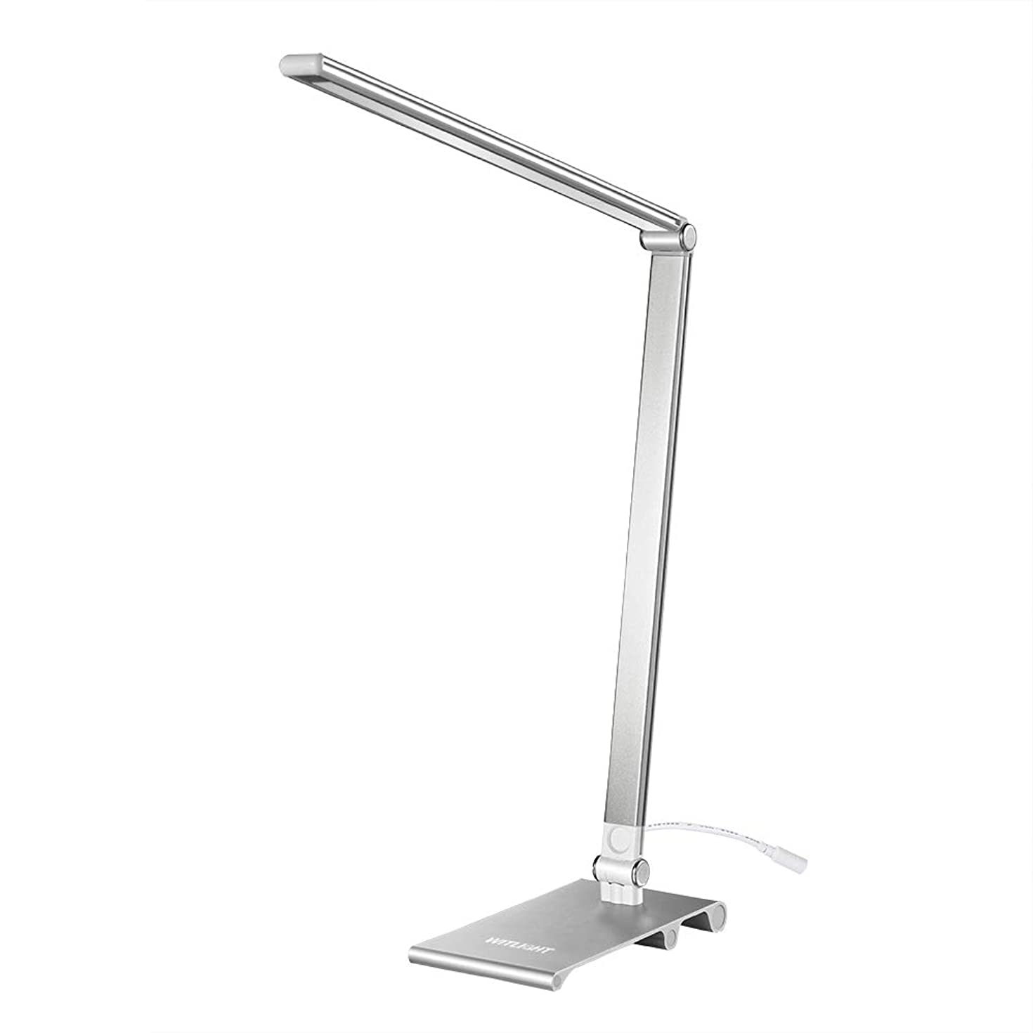WITLIGHT Dimmable LED Desk Lamp for Laptop, Touch Sensor Table Lamp with 3 Brightness Levels, Office Light USB Powered, 4000-5000K Eye Caring Natural LEDs, Ultra Thin Aluminum Casing, Silver