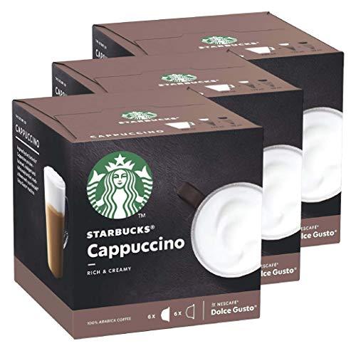 Nescafé Dolce Gusto Starbucks Cappuccino, 3er Set, Kaffeegetränk, Kaffee, Cremig, Kaffeekapsel, Röstkaffee, 3 x 12 Kapseln
