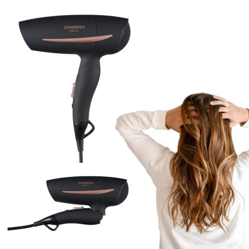 CARRERA Secador de pelo clásico de viaje, 1200 W, 2 niveles de calor y velocidad, mango plegable que ahorra espacio, protección contra sobrecalentamiento, ajuste de tensión flexible, secador de via