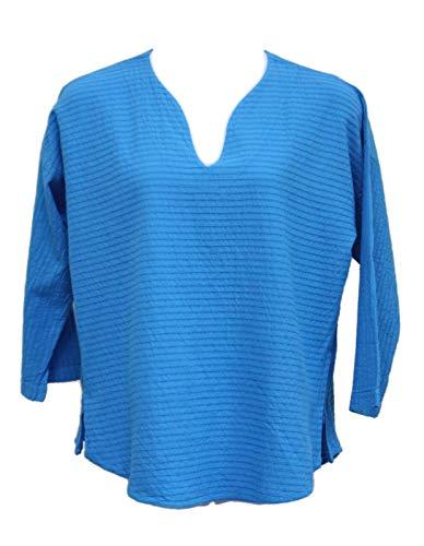 Ezze Wear Women's Blue Mirage Cotton Athena Tunic Top (3X, Blue)