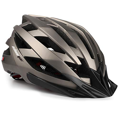 Shinmax Casco da Bici con Luce LED USB di Sicurezza, Visiera Staccabile Regolabile Certificata CE Casco da Bici da Montagna Strada Unisex Casco da Bicicletta super leggero Casco Bici Adulti con Zaino