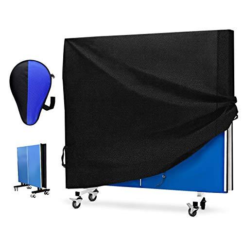 Funda para Mesa de Ping Pong, Exterior Mesa Tenis Cubierta Impermeable, Resistente al Viento, Anti-UV, Tela Cubierta de Mesa de Gardín Resistente (165 x 70 x 185 cm) (210D Tissu Oxford Robuste