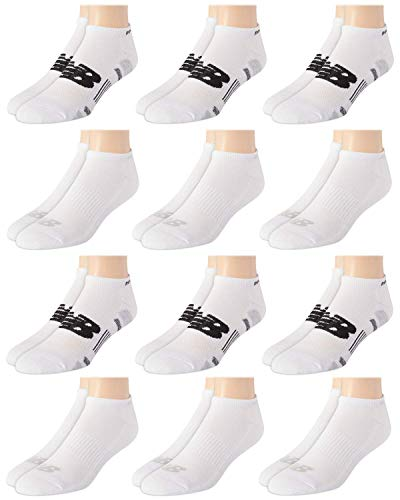 'New Balance Men's Athletic Arch Compression Cushioned Low Cut Solid Socks (12 Pack), White/Grey, Size Shoe Size: 6-12.5'