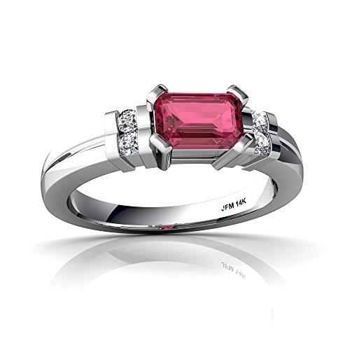 14kt White Gold Pink Tourmaline and Diamond 6x4mm Emerald_Cut Art Deco Ring - Size 8.5