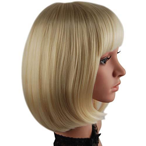 Korte Bob Pruiken voor Vrouwen met Pony Rechte Synthetische Pruik Natuurlijke Als Echt Haar 12'' + Gratis Pruik Cap (Licht Roze/Lavendel Paars/Blond) Blond