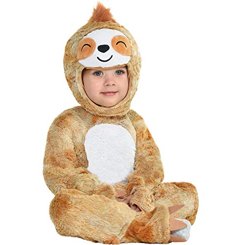 Party City Soft Cuddly Sloth Halloween Costume for Babies, Hooded Onesie, Tan and White, 12-24 Months