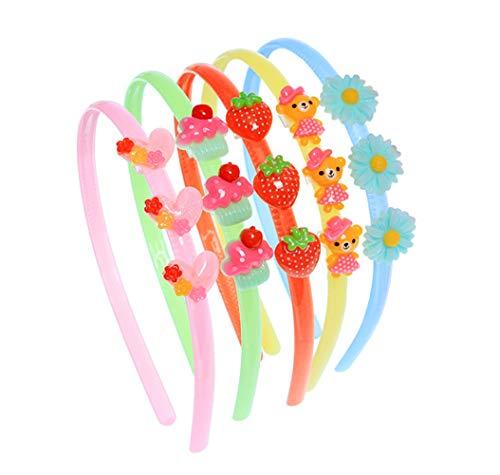 Diademas de colores al azar con adorno de dibujos animados de resina elástica, para niñas de más de 2 años de edad (5 piezas)