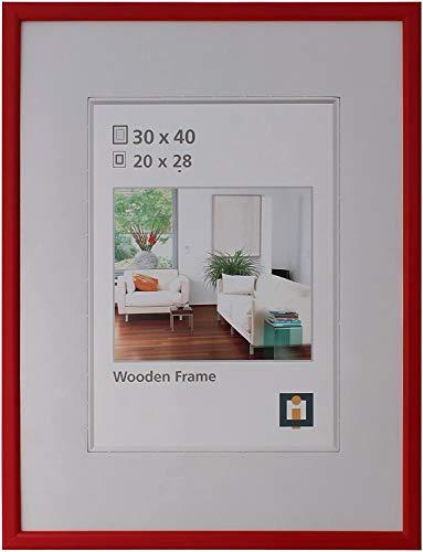 Intertrading Bilderrahmen 30 x 40 rot Holz Echt-Glas Portrait-Rahmen Foto Hoch- Quer-Format zum Hängen