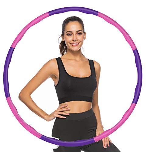 Watlike Hula Fitness Reifen für Erwachsene/Kinder/Anfänger Abnehmen und Massage, gewichtsreduktion Hoop Abnehmbarer 6-8 Segmente für Fitness/Büro/Zuhause (Rosa lila)
