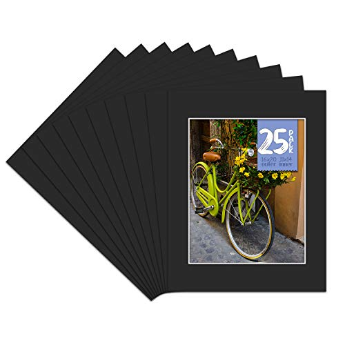 Golden State Art, Pack of 25, 16x20 Black Picture Mats Mattes with White Core Bevel Cut for 11x14 Photo