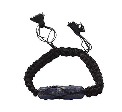 Blessfull Healing Reiki varita de doble punto lapislázuli piedra ajustable hilo negro pulsera joyería para Unisex