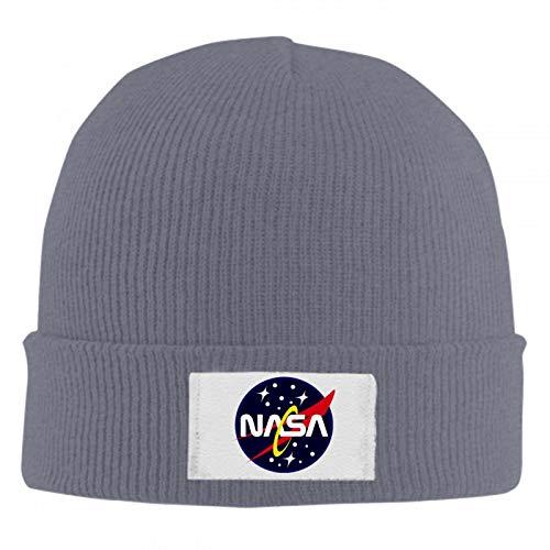 5372 US NASA Unisex Winter Warm Wool Cap Skull Hat Quality Woolen Knit Beanie Cap Dark Grey