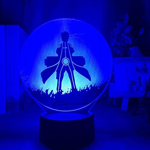 Solo 1 pieza 3d luz de noche óptica para niños cartel de Naruto Uzumaki para decoración de dormitorio luz de noche mejor regalo de cumpleaños lámpara de noche de Naruto mesita de noche
