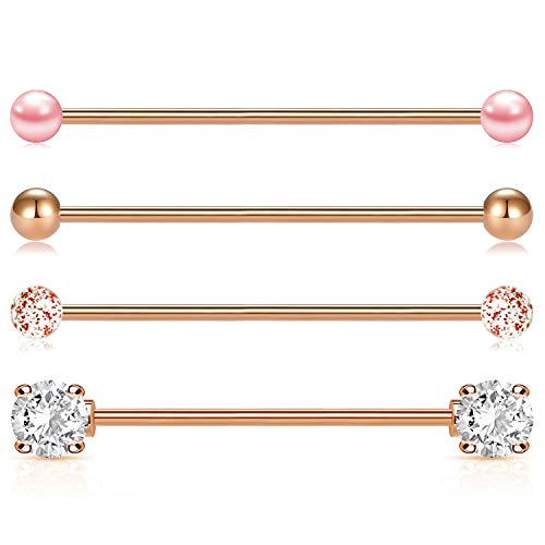 incaton 14G 4pcs Industrial Barbell Cartilage Cartilage Helix Earring Piercing Body Jewellery 38mm Bar, Rose Gold