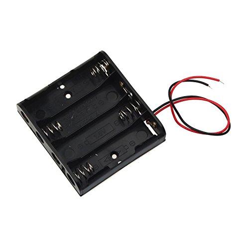 AA Batteriefach Adapter | Power Battery Storage Case Halter mit Anschlussleitungen | für CCTV, DIY, Arduinos, Motoren, Magnetspulen, LED-Streifen (4 Slots)