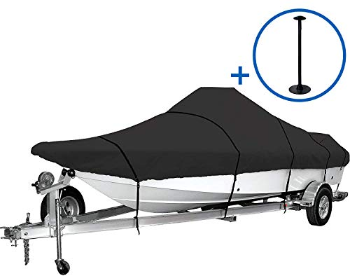 iCOVER Trailerable Boat Cover, 600D Heavy Duty Boat Cover Fits V-Hull Center Console Boat 22ft-22ft Long and Beam Width up to 102in, Windshield Height up to 30in, Boat Cover Support Pole Included
