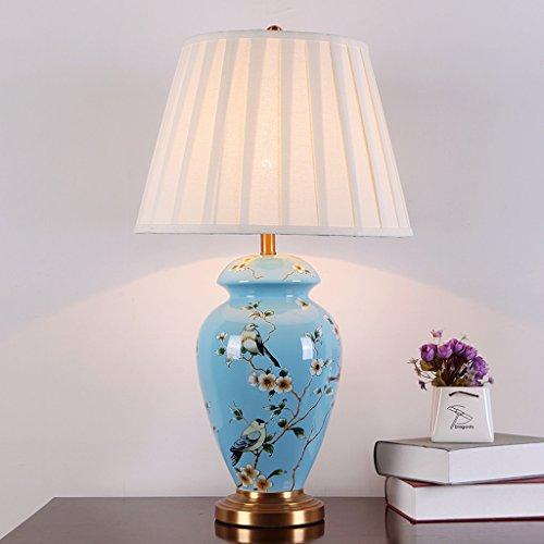 DJL bloem, blauwe nagellak, voor slaapkamer en nachtkastje, decoratief, tafellamp met keramische D