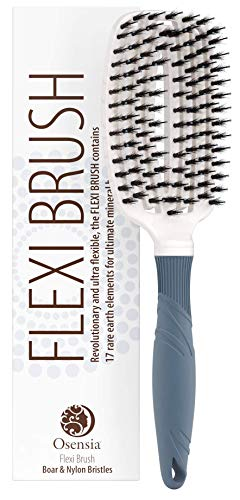 UPDATED DESIGN Detangling Brush – Pain Free Natural Boar Bristle Hair Brush for Kids, Women, and Men – Detangle Hair Brush with Minerals for Shiny Hair – Wet and Dry Detangler by Osensia