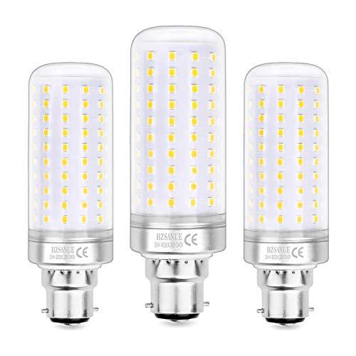 Hzsanue Lampadine LED 26W, 200W Lampadine a Incandescenza Equivalenti, 2600Lm, 4000K Luce Bianca Naturale, B22 Cappellino Baionetta, Confezione da 3
