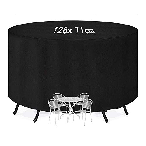 KANOSON Garden Table Cover, Round Garden Furniture Covers, Waterproof, Heavy Duty, Windproof Circular Patio Set Cover, Large Rip Proof 210D Oxford Fabric Cover for Round Table - (Ø128 x 71cm)