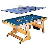 Riley FP 6TT Mesa Multifuncional 2 en 1 - Mesa de Billar, Mesa de Ping Pong, Plegable,...