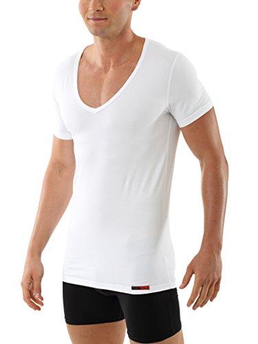 Albert Kreuz Deep-V-Unterhemd Business Herrenunterhemd aus Stretch-Bauwolle mit extra-tiefem V-Ausschnitt Kurzarm weiß 6/L