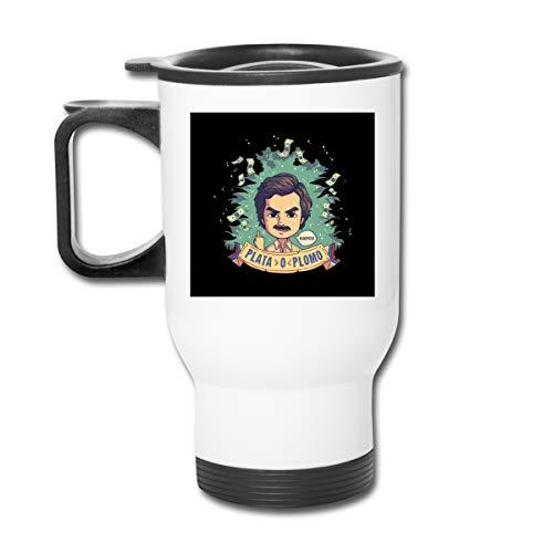 Plata O Plomo Pablo Escobar Narcos 16 oz Vaso de acero inoxidable doble pared taza de café al vacío con tapa a prueba de salpicaduras para bebidas calientes y frías