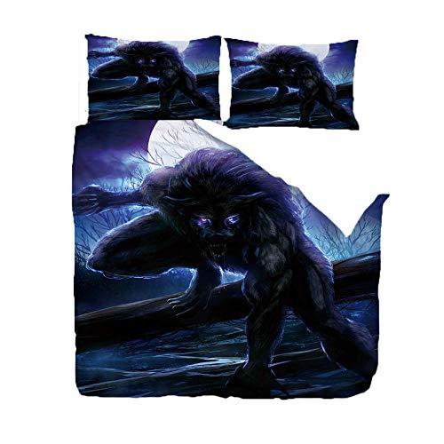 Qsmhht Duvet Cover with 2 Pillowcases 3D Printed Werewolf landscape and child Bedding Set with Zipper Closure Unique Design Anti-allergic Double Duvet Cover Set King - 200x230cm