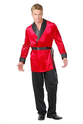 Charades Men's Velvet Smoking Jacket Costume Top, Red, Larg