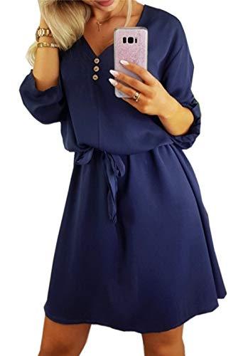 ZIYYOOHY Damen Casual Blusenkleid Chiffon Button V-Ausschnitt 3/4 Ärmel Freizeit Mini Sommerkleid Mit Gürtel (L, Marineblau)