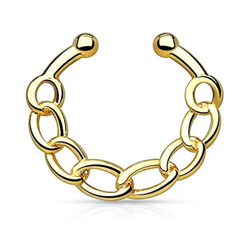 Gekko Lichaam Sieraden Gouden Ketting IP Messing Niet-Piercing Nep Septum Hanger Neus Daith Ring - 1.2mm