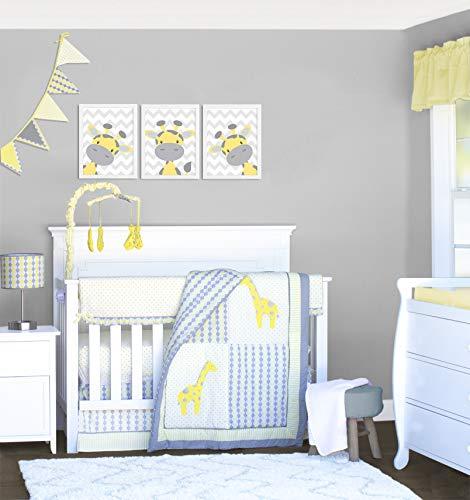 Pam Grace Creations 10 Piece Giraffe Safari Yellow and Gray Crib Bedding Set