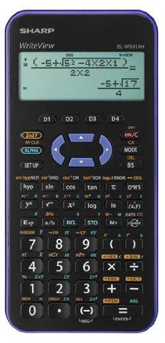 Sharp EL-W531XHVL Taschenrechner mit Tasche, Taschenrechner, wissenschaftlicher Taschenrechner, 2 Zeilen, Akku, Schwarz, Violett