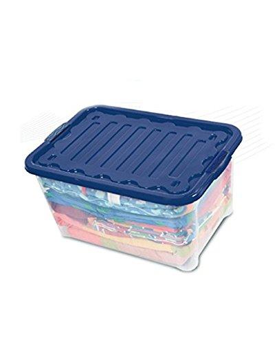 House&Style Vulcano Contenitore Storage XXL, 74 L, Plastica, Blu, 60 x 40 x 45 cm