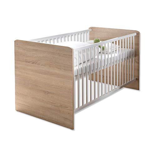 WIKI Sicheres Babybett mit 70 x 140 cm Liegefläche - Schönes Baby Gitterbett für einen geborgenen Schlaf in Eiche Sonoma Optik, Weiß - 144 x 80 x 82 cm (B/H/T)