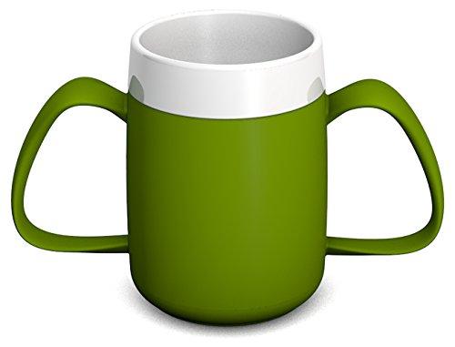 Ornamin 2-Henkel-Becher mit Trink-Trick 140 ml grün (Modell 815) / Spezial-Trinkhilfe, Tremor-Becher
