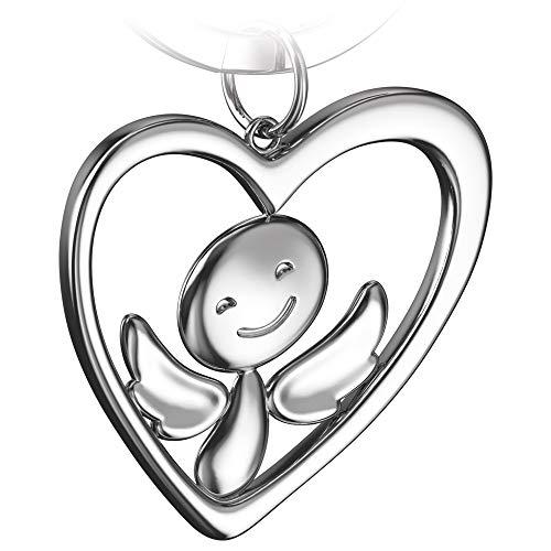 FABACH Schutzengel Schlüsselanhänger Furfur im Herz - Edler Engel Anhänger aus Metall in glänzendem Silber - Geschenk Glücksbringer Auto Führerschein - Fahr vorsichtig