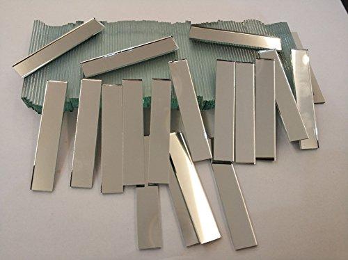 RUIXUAN Espejos rectangulares de cristal pequeños de 3/8 x 2 pulgadas, 120 piezas de azulejos de mosaico