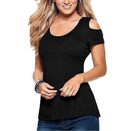 Camiseta Tops De Manga Corta Cuello Redondo Sexy Tops Cómodos Tops De Verano Diseño De Color Sólido All-Match Mujer Top Mujer T-Shirt A-Black S