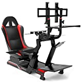 Extreme Simracing Racing Simulator Cockpit With All Accessories (Black/Red) - VIRTUAL EXPERIENCE V 3.0 Racing Simulator For Logitech G27, G29, G920, G923, SIMAGIC, Thrustmaster And Fanatec