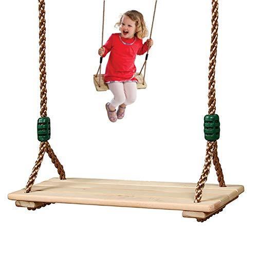 GIMOCOOL Holz Schaukelsitz Holzschaukel Outdoor Brettschaukel Mit Hanfseil 120-210 cm einstellbar Bis 300 Kg Belastbar Für Innen Und Außenbereich Erwachsene Kinder
