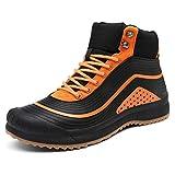 ulogu Men's Snow Boots Waterproof Fur Lined Booties Non-Slip Lightweight Winter Shoes, Orange/Black, 9 M US