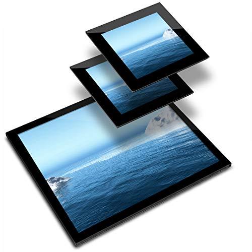 Destination - Mantel individual de vinilo (cristal, 20 x 25 cm, 2 posavasos de 10 x 10 cm), diseño de la marca Iceberg at Sea Arctic Nature Workplace/mesa/comedores/lavable y resistente al agua #3693