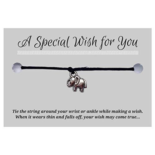 Elephant Black Wish Bracelet - Hemp with Silver Tone Charm on Printed Card - Adjustable - Unisex
