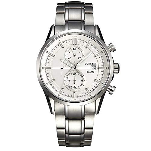 Cloudbox Reloj mecánico – Reloj de acero inoxidable resistente al agua importado reloj de cuarzo (correa de plata con tuerca de color blanco) para hombres