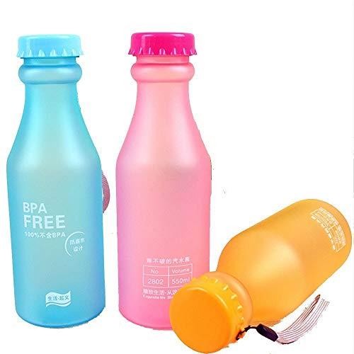 OnePine 3 Pezzi Bottiglia d'Acqua Sportiva 550ml Senza BPA, Riutilizzabile Plastica Bottiglie Acqua per Palestra,Cycling, Viaggi, Bambini (Rosa+Blu+Arancione)