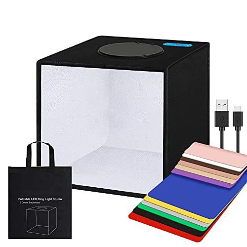 Gobesty Caja de Luz Fotografía, Caja de Fotografia Portátil Plegable Photo Studio, 20 cm con Luces 96 LED para Disparar con 12 Colores de Fondo Caja de luz fotográfica de Estudio de fotografía