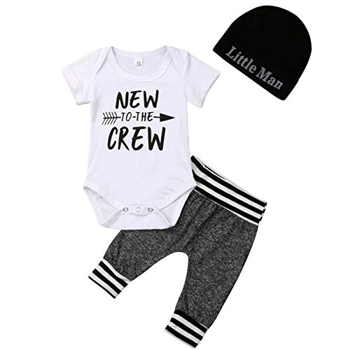 i-Auto Time Newborn Baby Boy Clothes to The Crew Print Romper+Pants+Hat 3Pcs Outfits Set (0-6 Months, Short Sleeve)